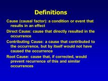 Definitions Contributed or Caused