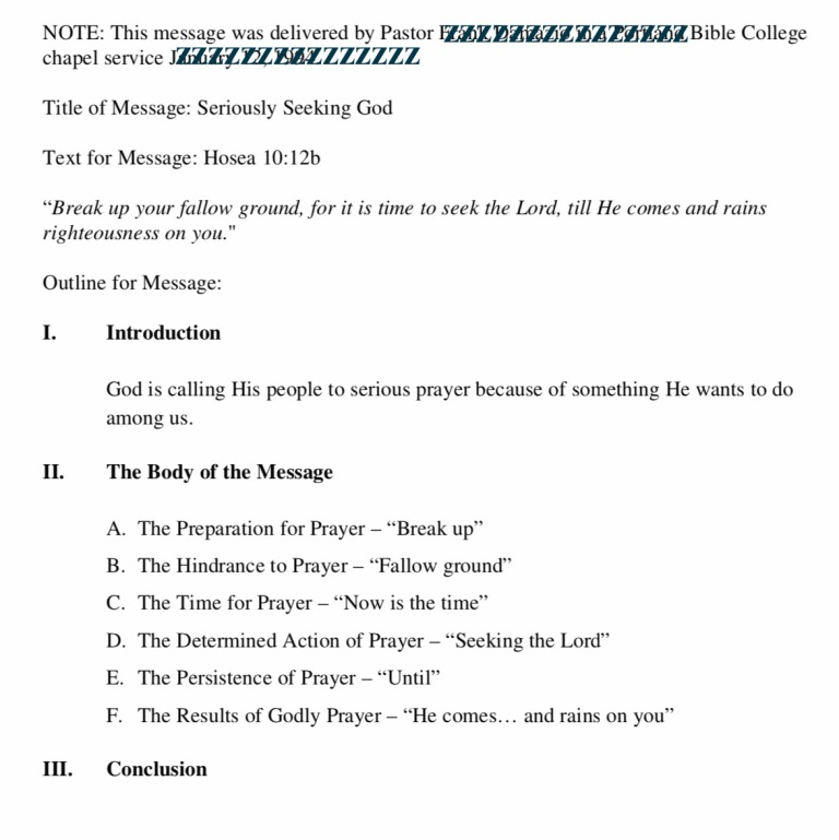 sample sermon outline