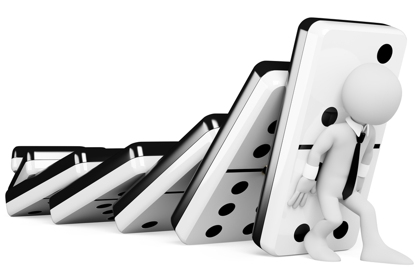 3D white people. Stopping a chain reaction of dominoes falling